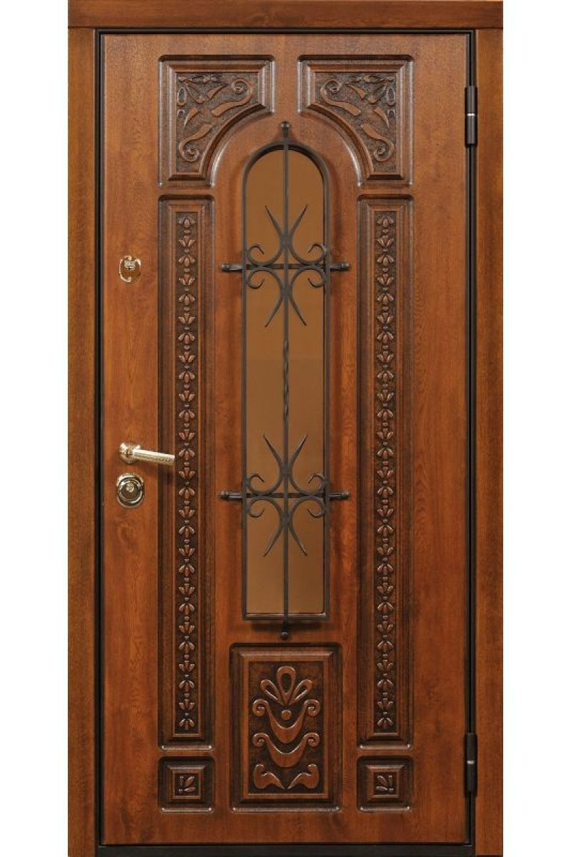 Entry door / swing / solid wood / stainless steel - WROUGHT IRON ...