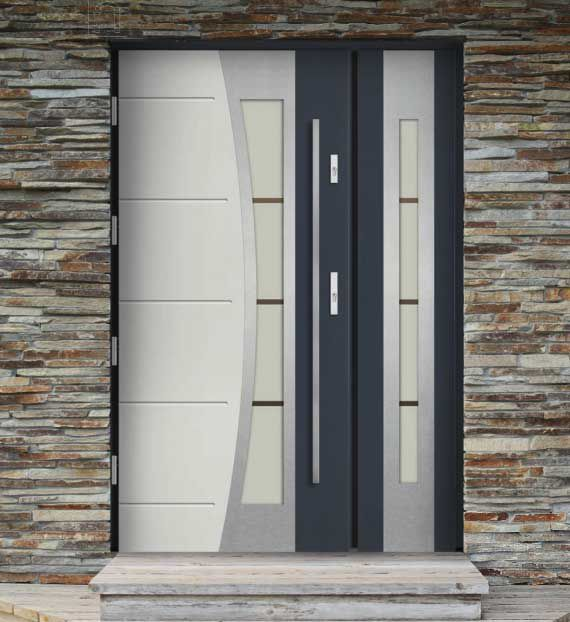 entry door swing wood veneer stainless steel porto ville doors