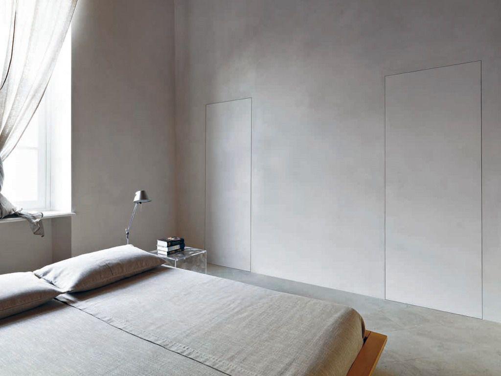Indoor Door Swing Wood Veneer Curved Modern Invisible