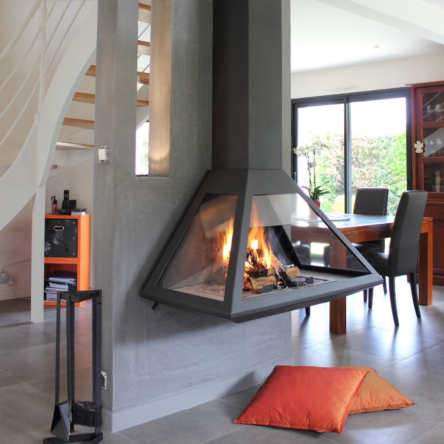 wood burning fireplace contemporary open hearth 3 sided