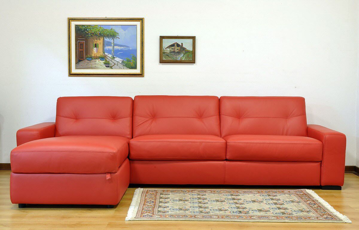 Corner sofa / bed / contemporary / leather LIDO A VAMA Divani