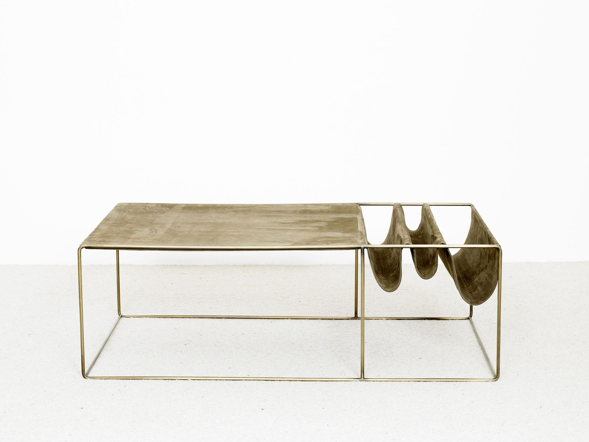 Contemporary coffee table metal leather rectangular SUE