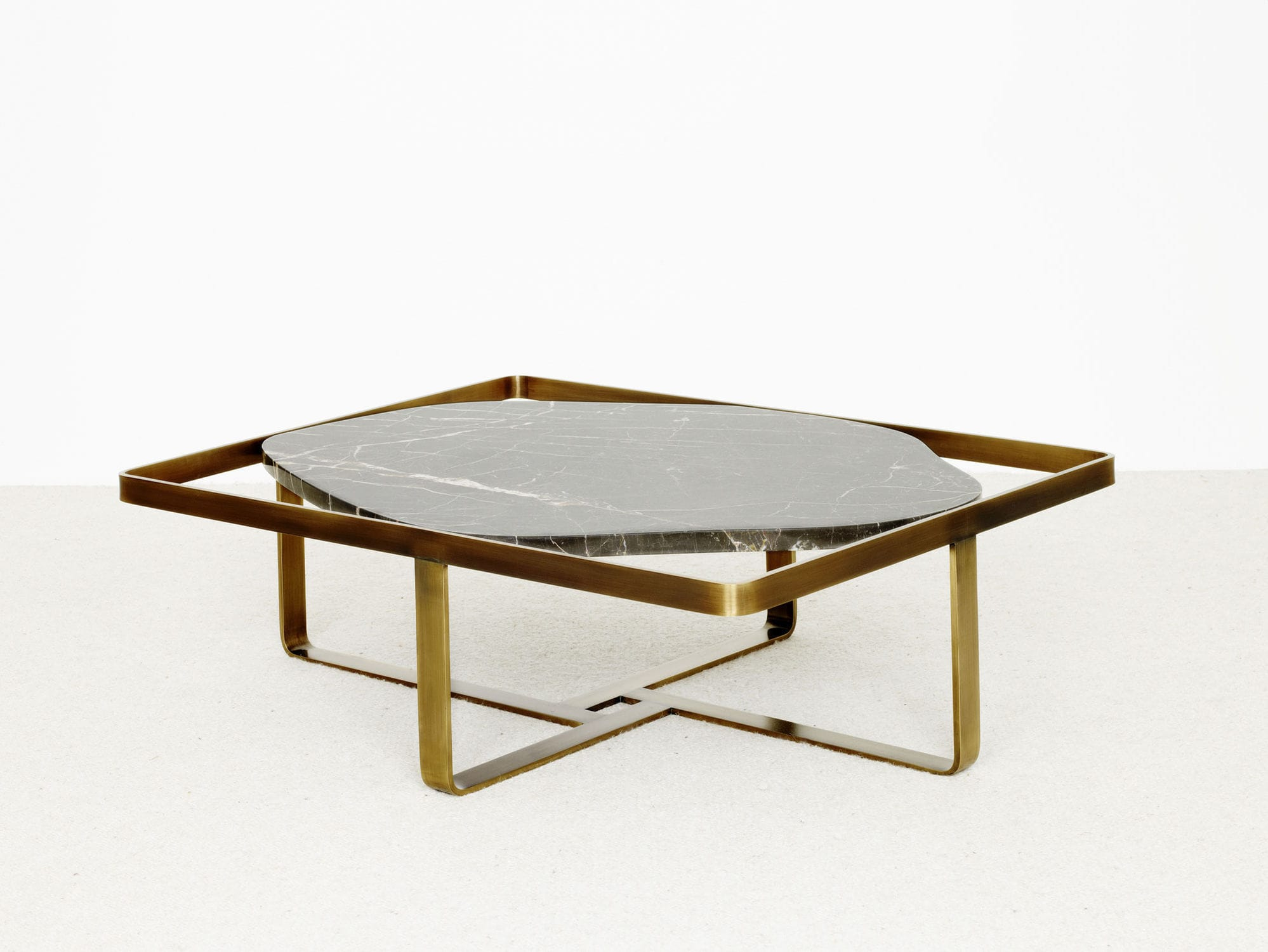 Contemporary Coffee Table Wooden Metal Stone Jen