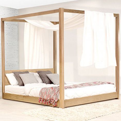 canopy bed double contemporary wooden low four poster