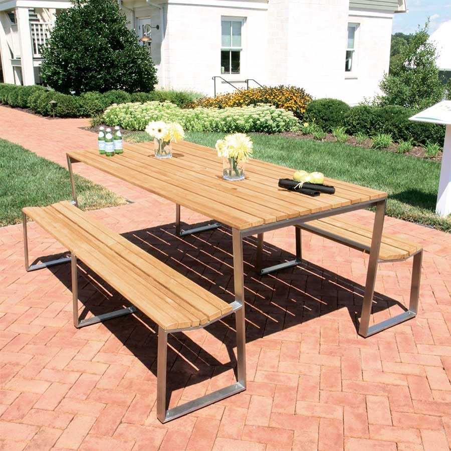 Contemporary Picnic Table Teak Stainless Steel Rectangular - Stainless steel picnic table