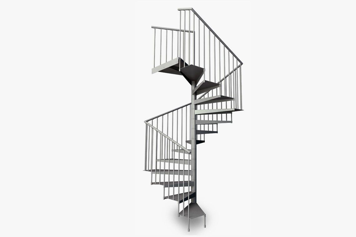 Square spiral staircase / metal steps / metal frame / without risers F20-Q  d ...