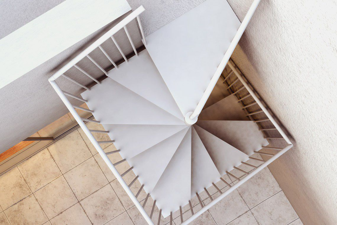 ... Square spiral staircase / metal steps / metal frame / without risers  F20-Q d