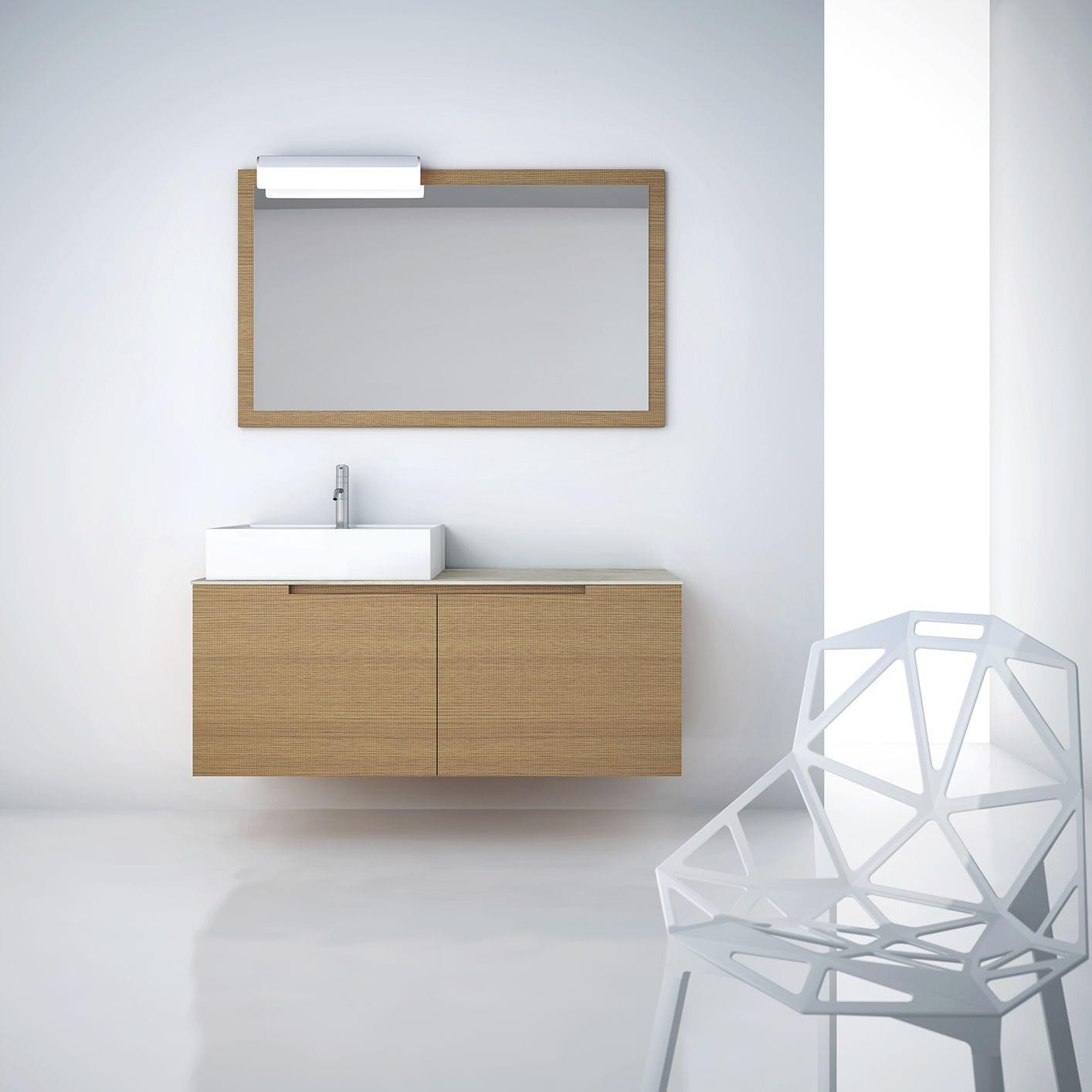 Double washbasin cabinet / wall-mounted / oak / walnut - Tranche ...