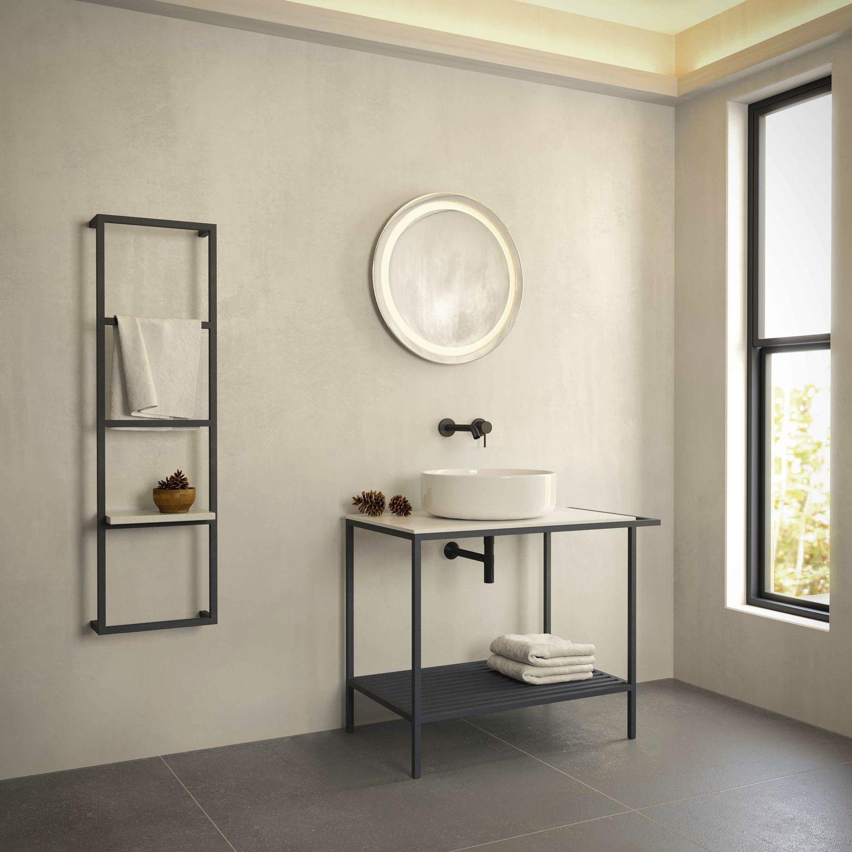 Free-standing washbasin cabinet / HPL / ceramic / metal - TREND ...