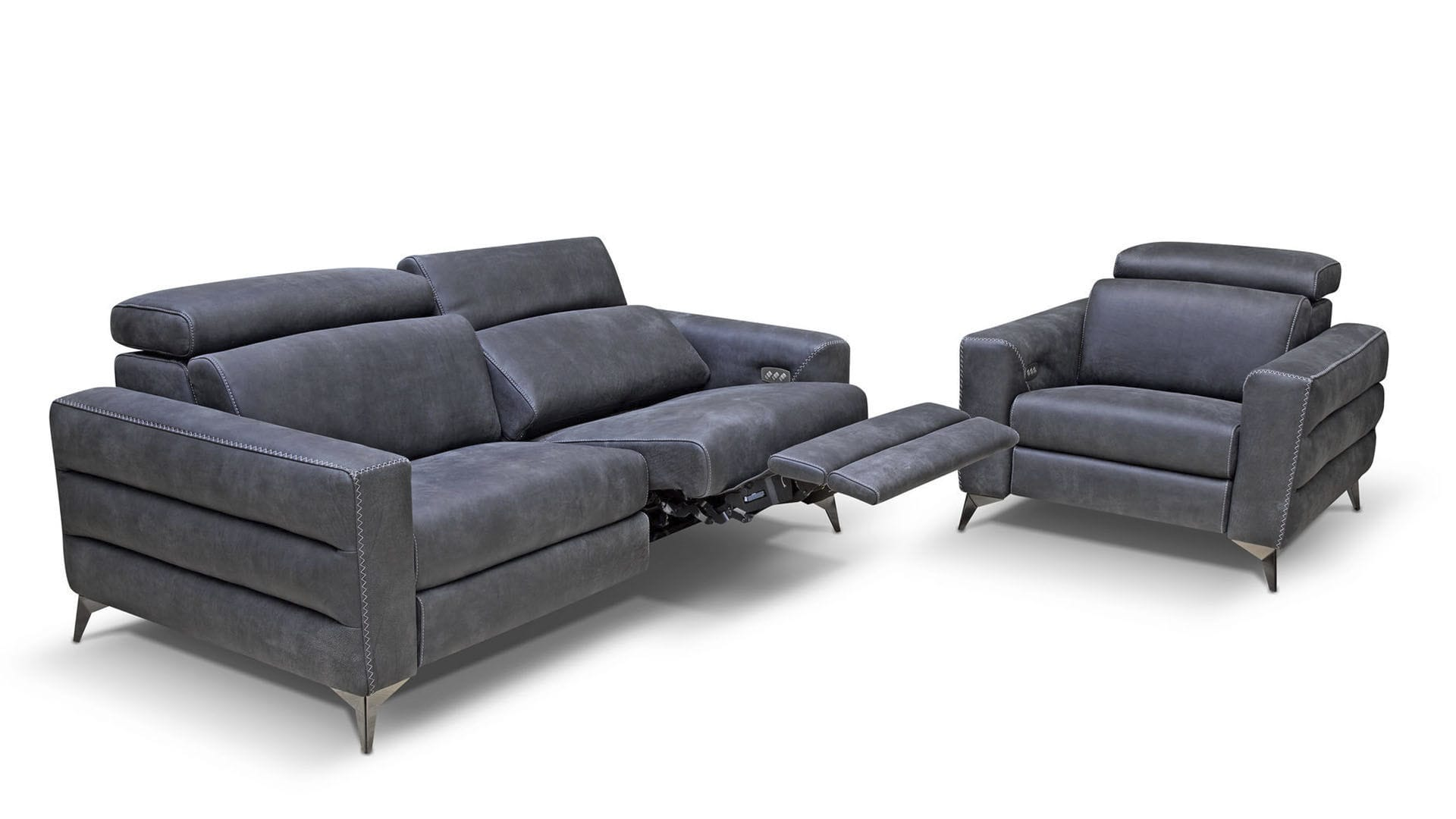 Contemporary sofa / leather / 2-person / reclining - ERMES - Rossini