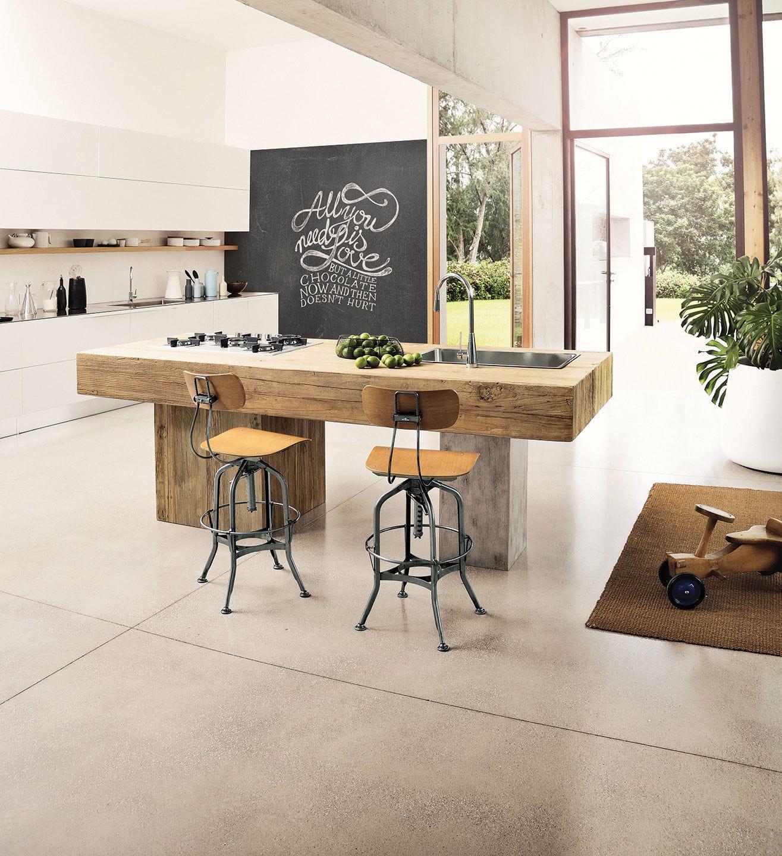 contemporary kitchen elm metal island ponza nature design