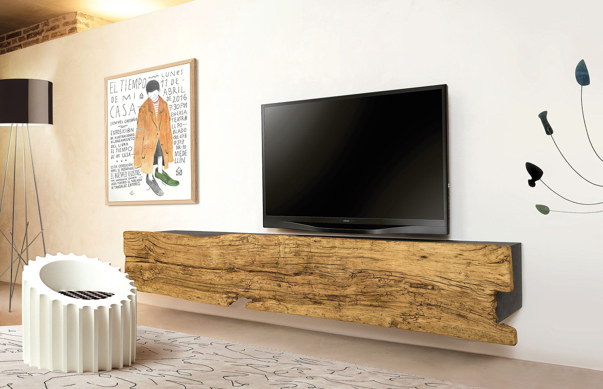 Contemporary TV cabinet / solid wood / ash - ILL - Nature Design