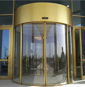 Entry Door Revolving Glass Metal Arc Curvilinear