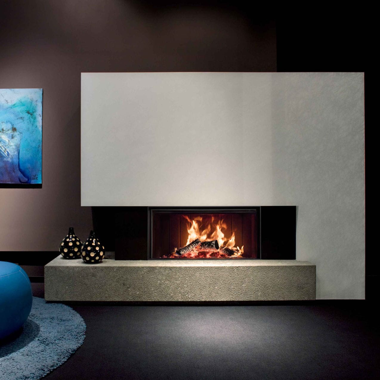 Wood Burning Fireplace Contemporary Closed Hearth Built In Kalfire Heat Pure W105 47f
