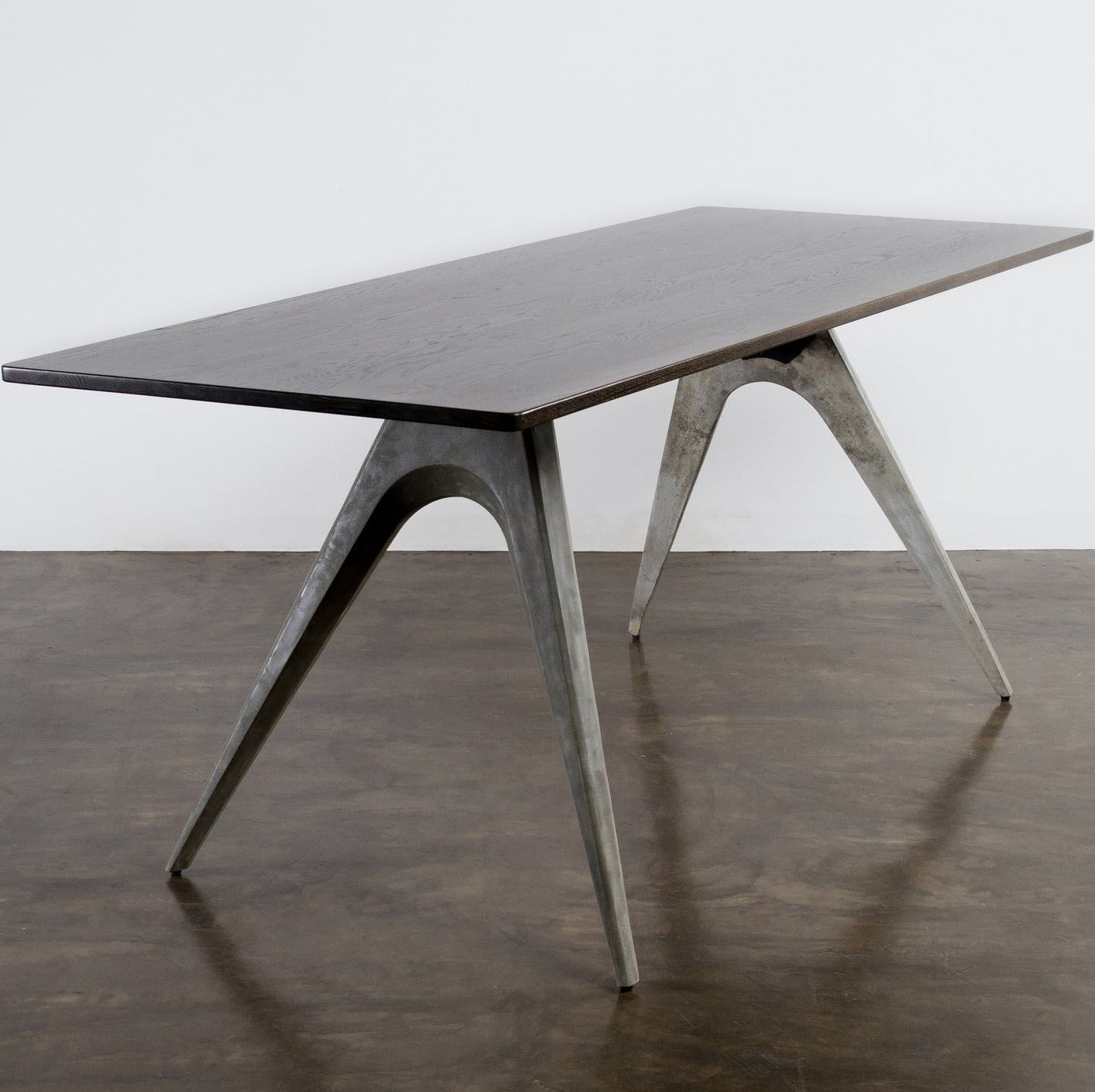 Contemporary Dining Table Metal Concrete Rectangular KAHN - Concrete and metal dining table