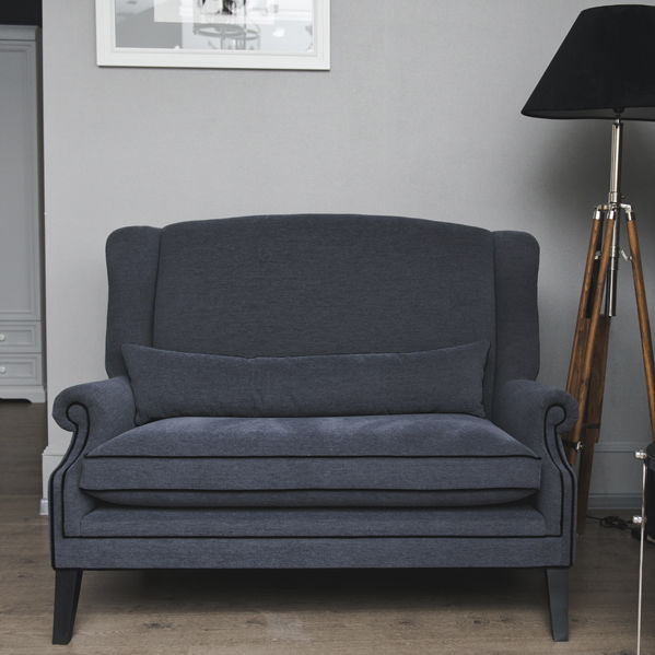 Compact Sofa Traditional Fabric High Back Lyon