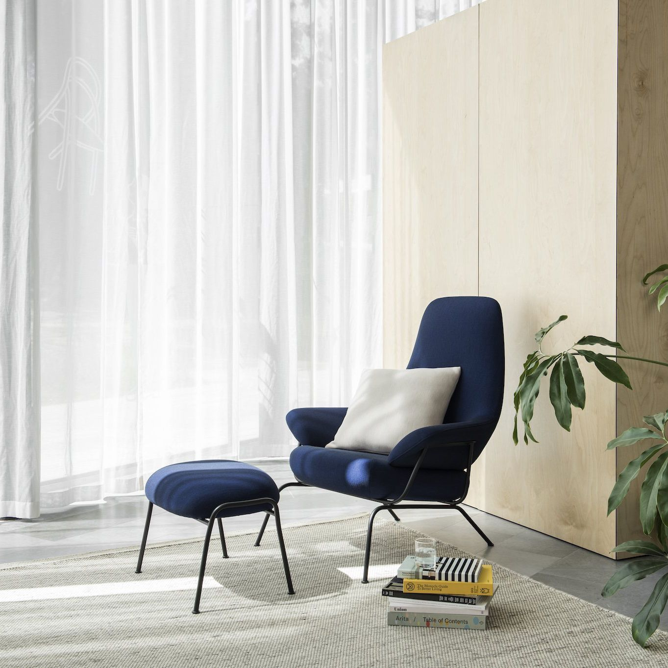 Contemporary armchair / fabric / metal / with footrest - HAI - hem