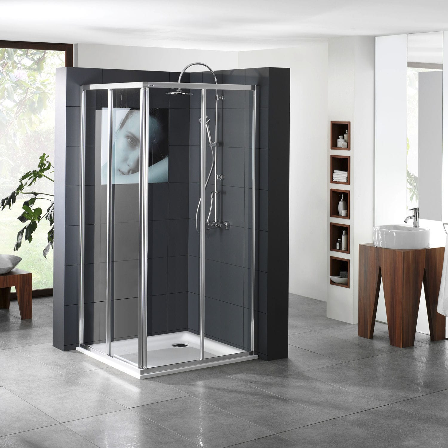 Glass shower cubicle / corner / with sliding door - DRIVE 1.0 ...