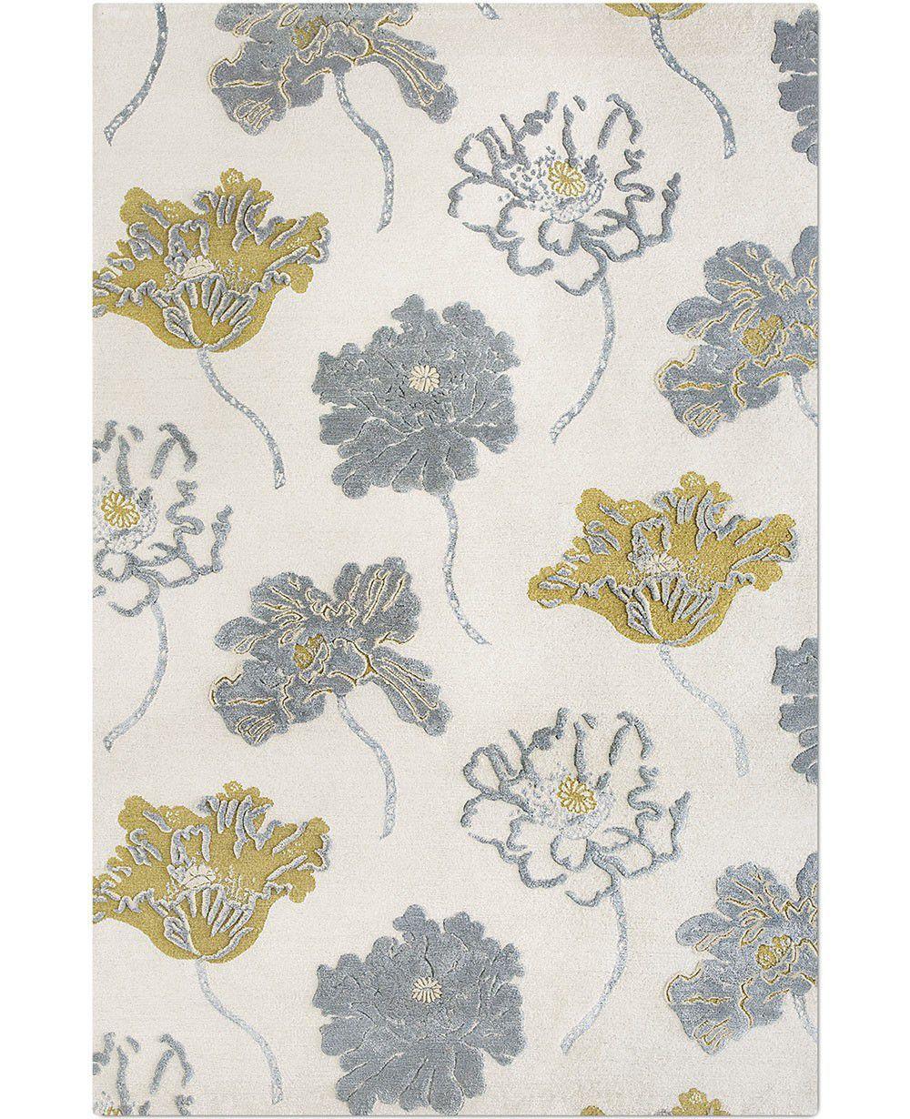 Contemporary rug floral pattern silk tibetan wool poppy by contemporary rug floral pattern silk tibetan wool poppy by sally baring mightylinksfo