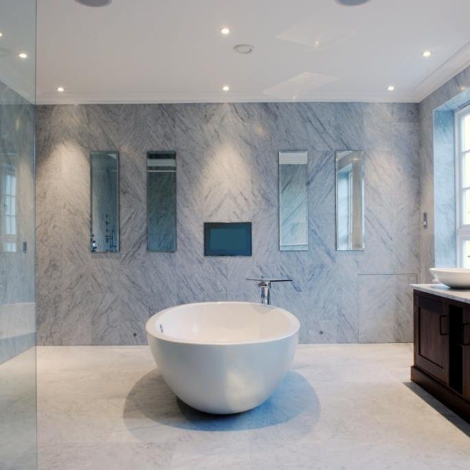 Indoor tile / bathroom / wall / marble - Beltracer Bianco Carrara CD ...