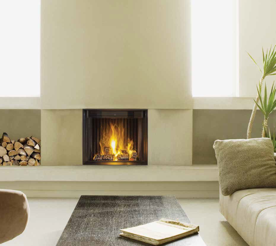 Wood-burning fireplace / contemporary / closed hearth / built-in ...