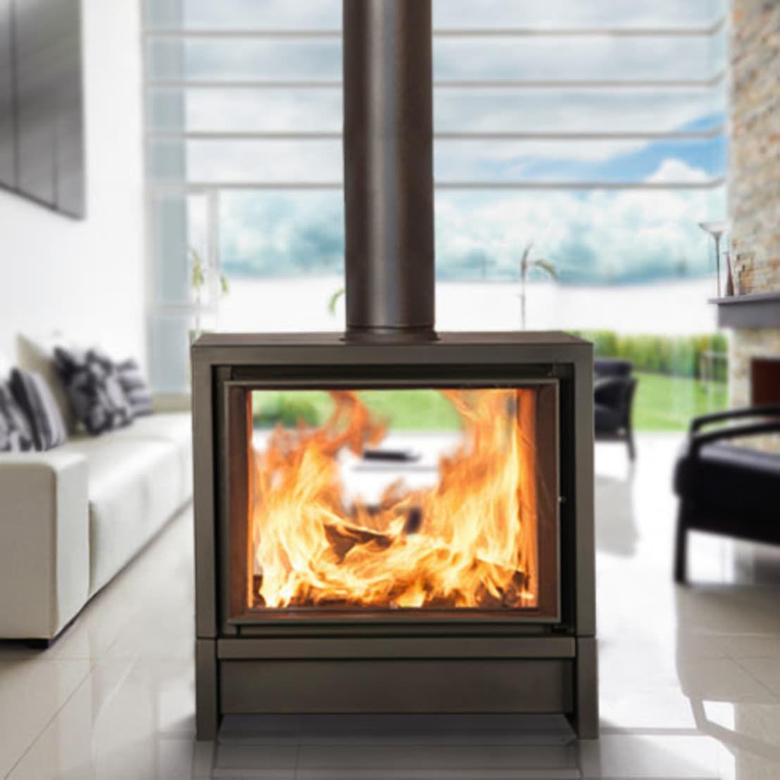 contemporary fireplace surround metal double sided konturo