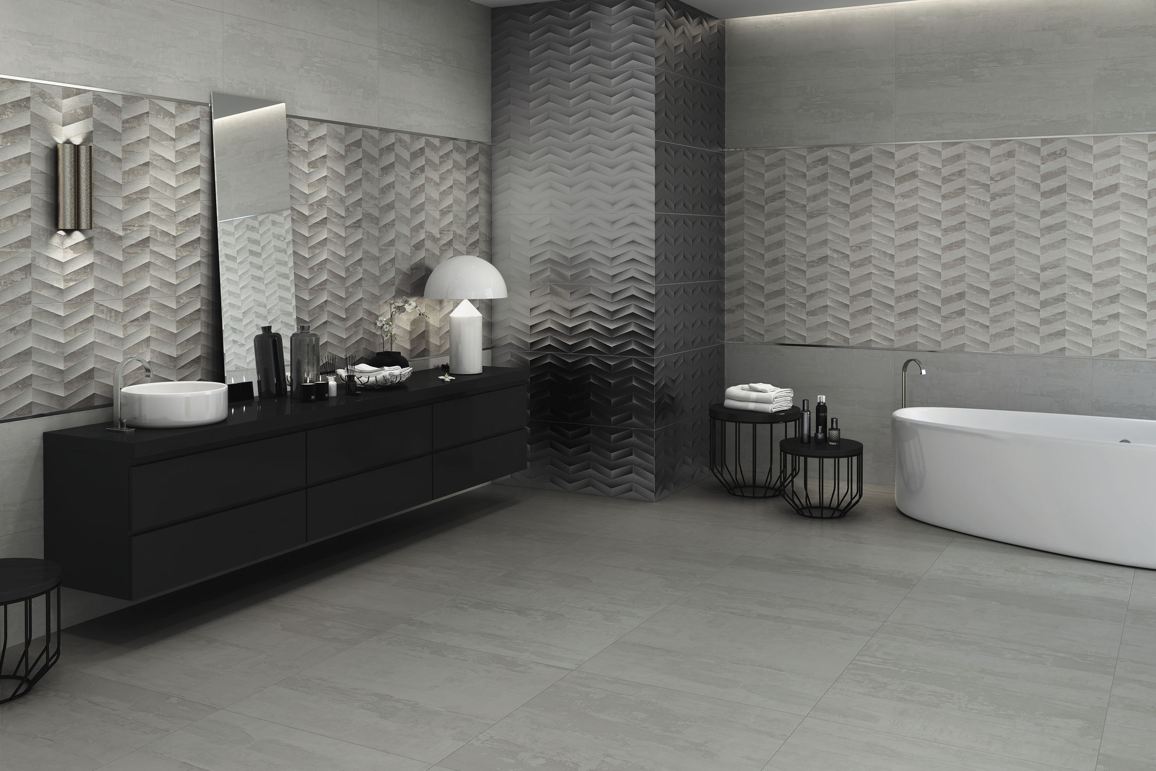 Bathroom tile / living room / wall / porcelain stoneware - JACQUARD ...