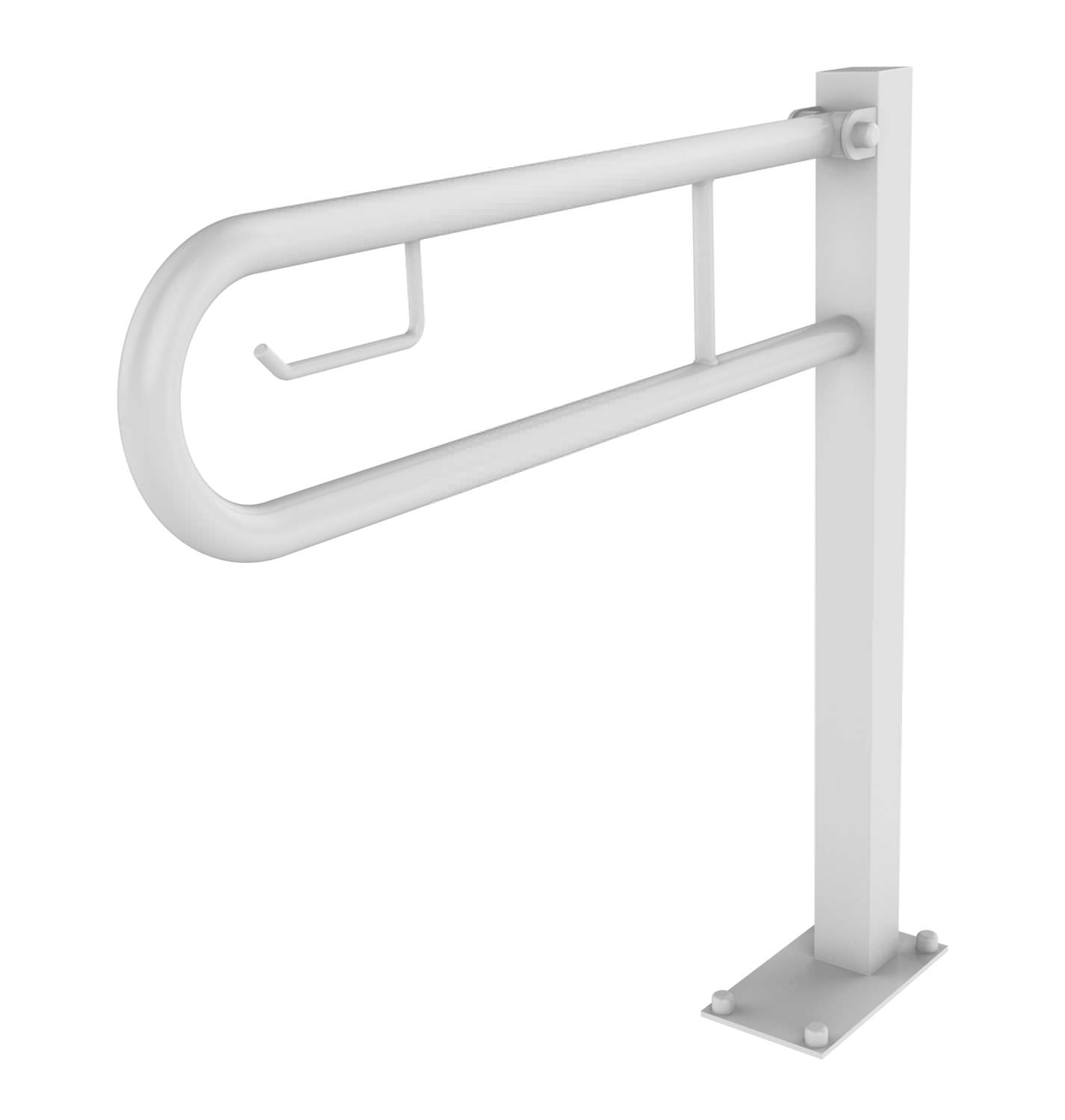 Stainless steel grab bar / U-shaped / floor-mounted / commercial ...