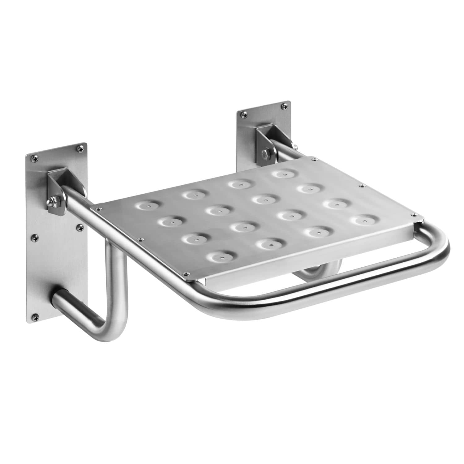 Folding shower seat / wall-mounted / stainless steel / commercial ...