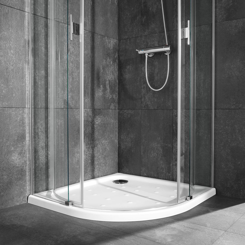 Corner shower base / porcelain / extra-flat / non-slip - MALTA - ROCA