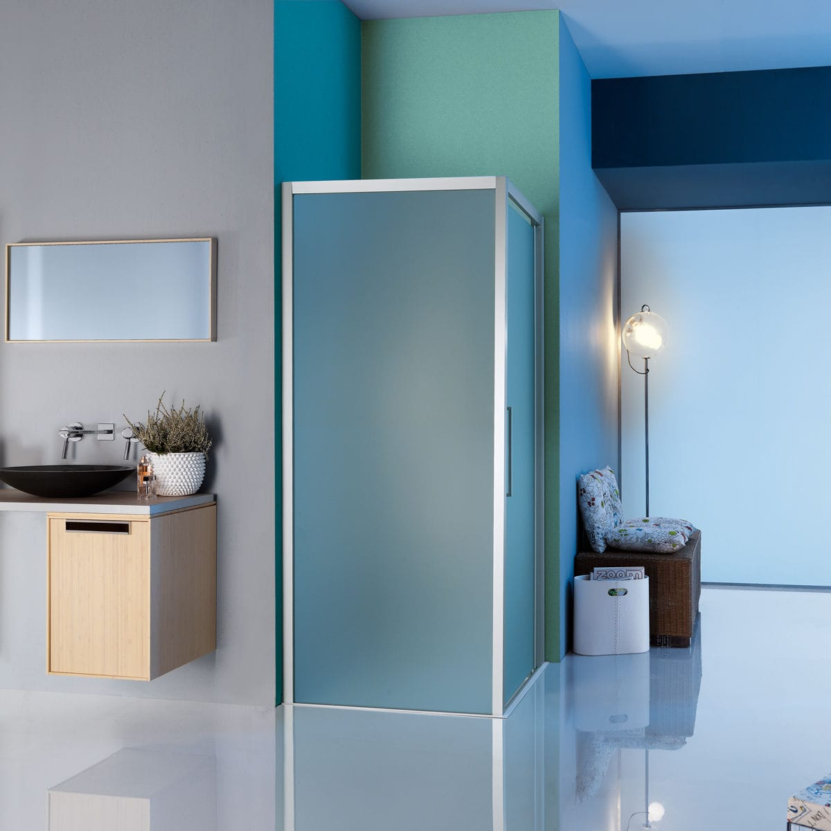 Swing shower screen / corner / glass - EUROPA SP: B7924 - SAMO