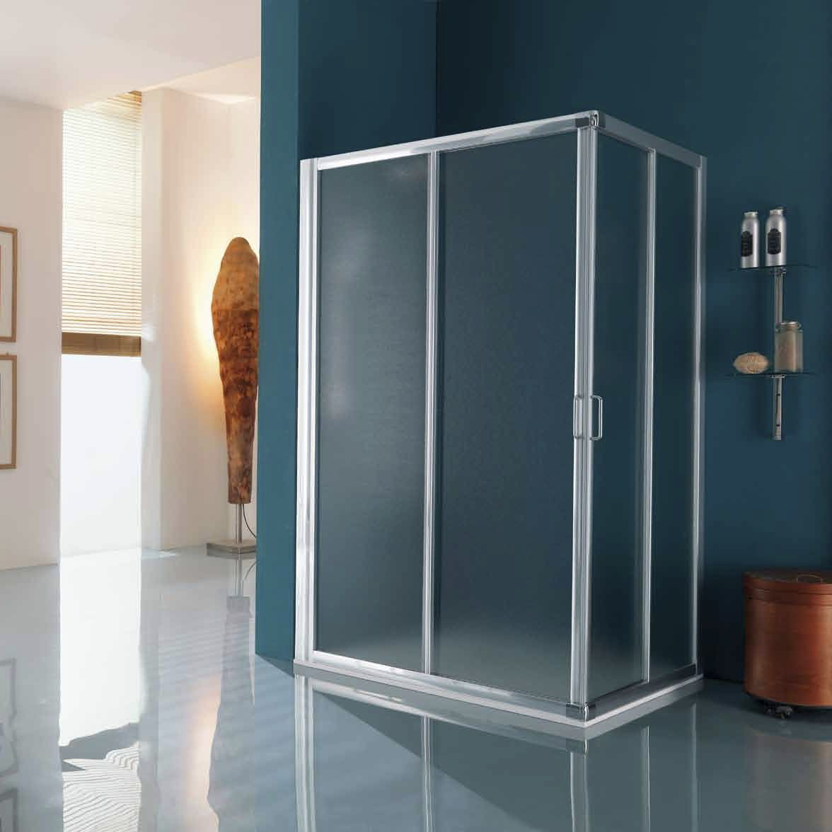 Box Doccia Samo Flex.Sliding Shower Screen Corner Glass America B6830 Samo