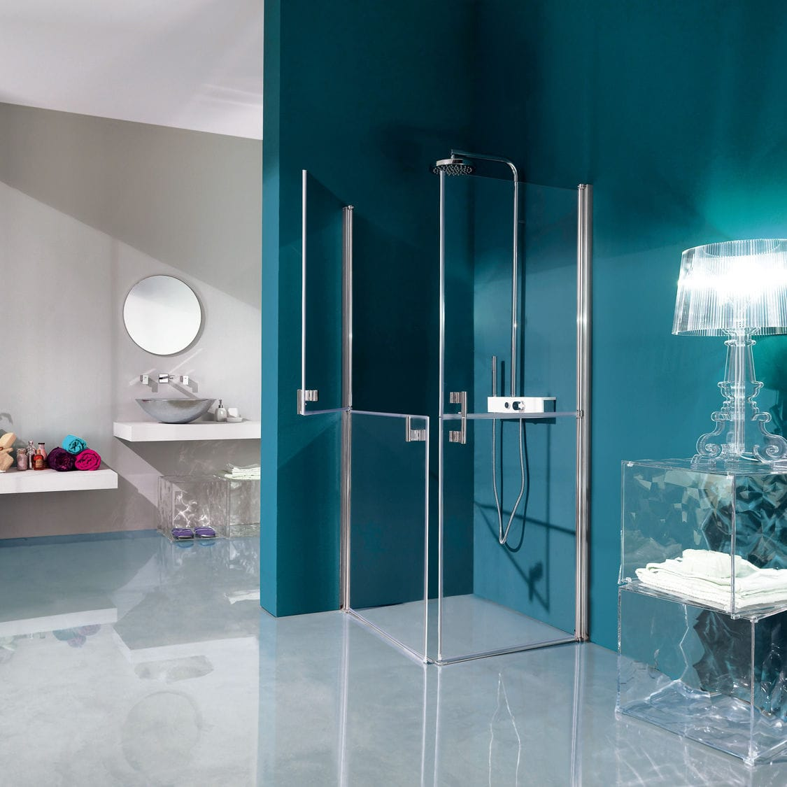 Swing shower screen / corner / glass - POLARIS: B9501 - SAMO