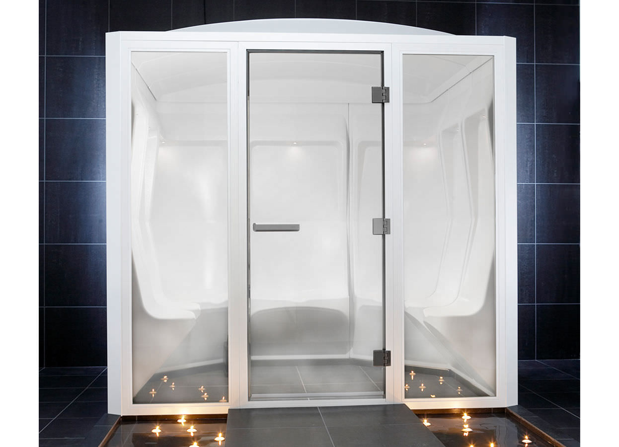 Steam shower cubicle / glass / rectangular / with hinged door ...