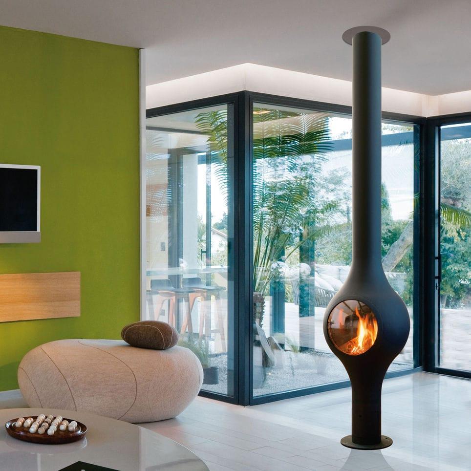 Gas heating stove / contemporary / central / metal - BOAFOCUS - Focus