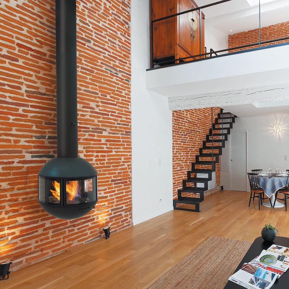 Wood Burning Fireplace Contemporary Closed Hearth 3 Sided Edofocus 631 Focus
