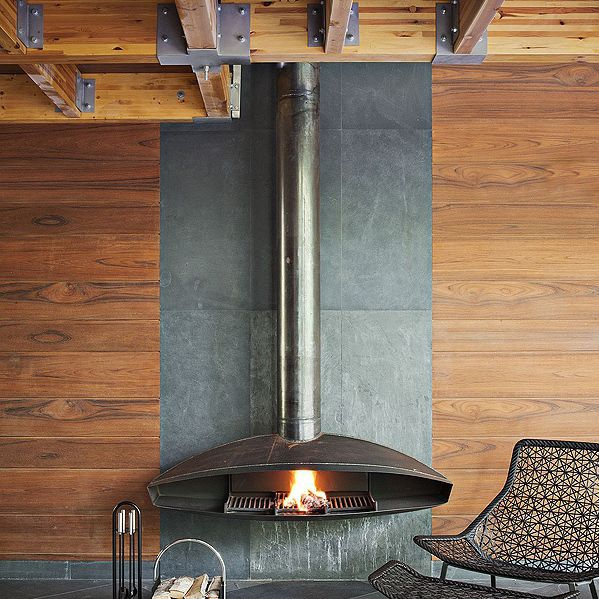 Fireplace Design open hearth fireplace : Wood-burning fireplace / contemporary / open hearth / hanging ...