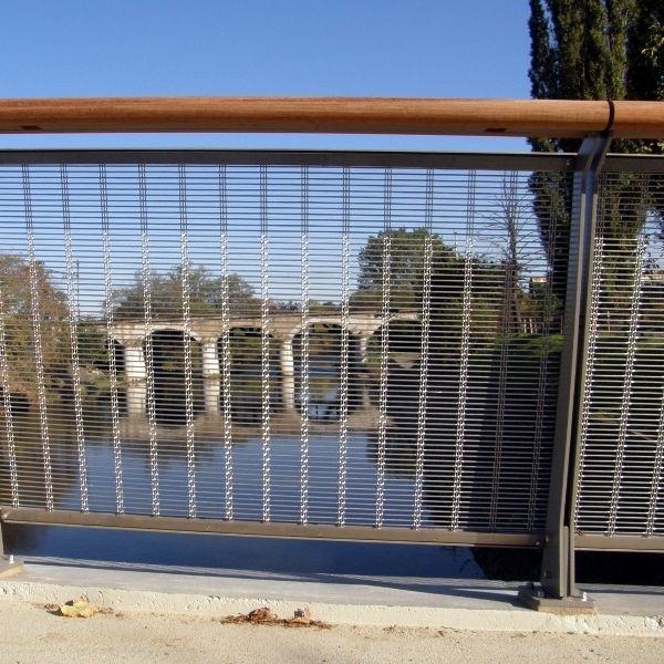 Metal railing / with panels / perforated sheet metal / wire mesh ...