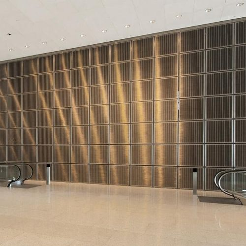 Stainless steel decorative panel / metal wire / wall-mounted ...