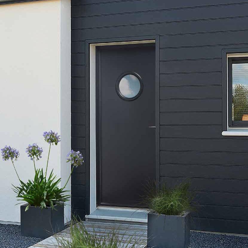 Entry door / swing / steel / with round window - LUMIÈRE : ÉLISE - HUET