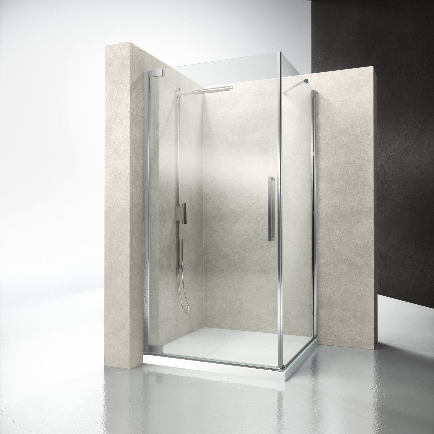 Glass shower cubicle / corner / with hinged door - FLARE : FA+FF ...