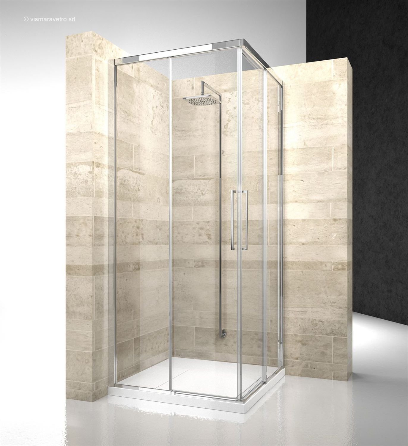Glass shower enclosure / corner / with sliding door / residential ...