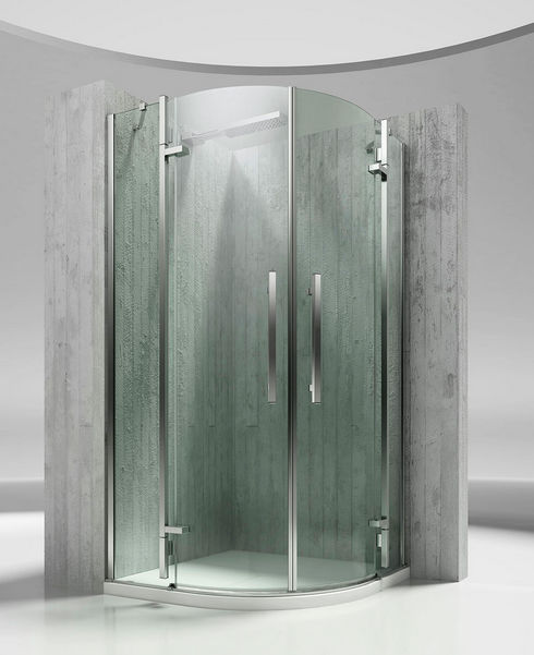 glass shower cubicle curved with hinged door tiquadro qt