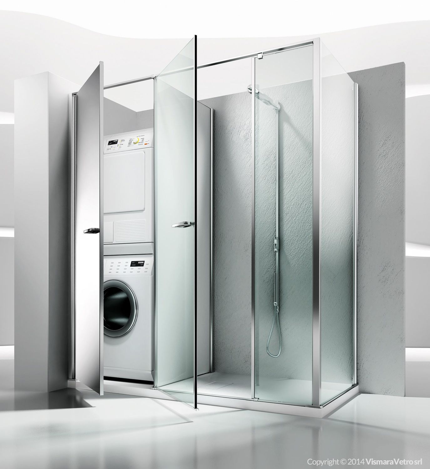 Glass shower cubicle / corner / with pivot door - TWIN: T22 ...