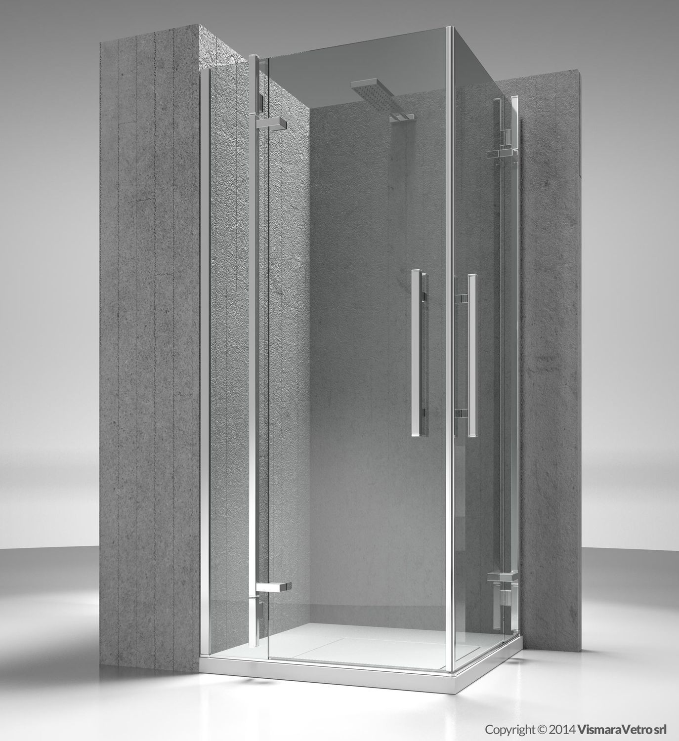 Glass shower cubicle / corner / with hinged door - TIQUADRO: QA+QA ...