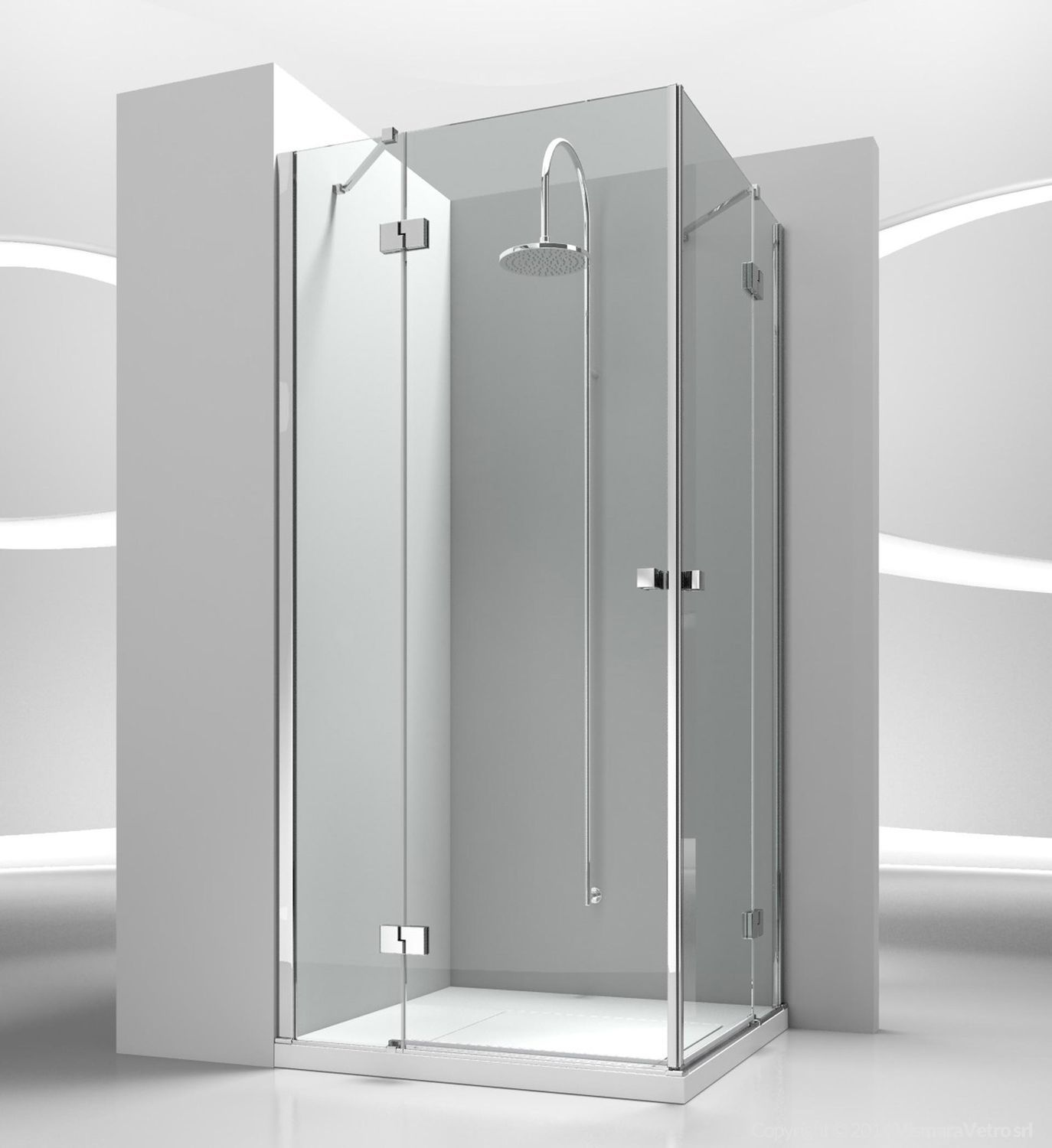Glass shower cubicle / corner / with hinged door - SINTESI: SA+SA ...