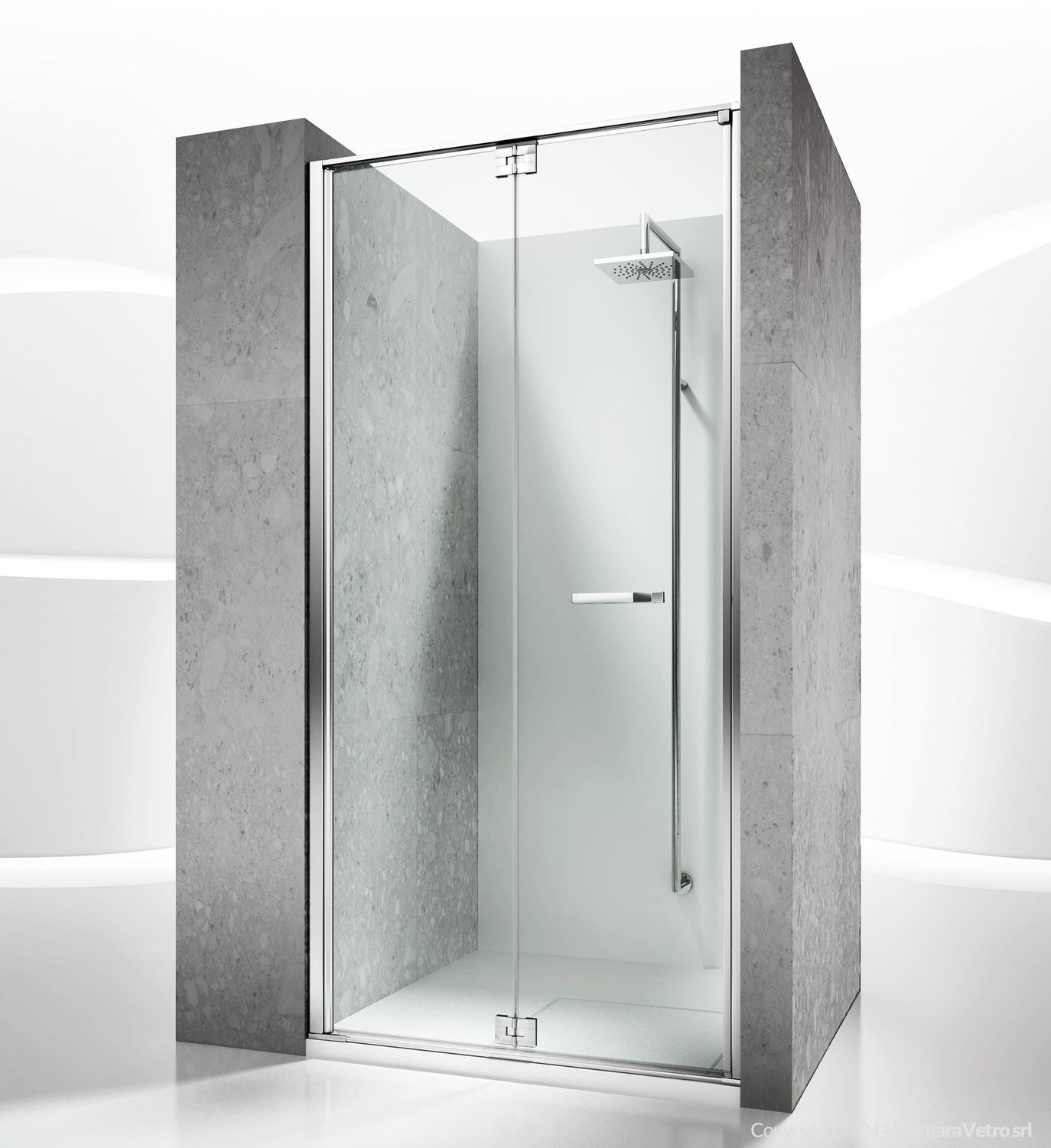Glass shower cubicle / for alcoves / with folding door - REPLAY: RN ...