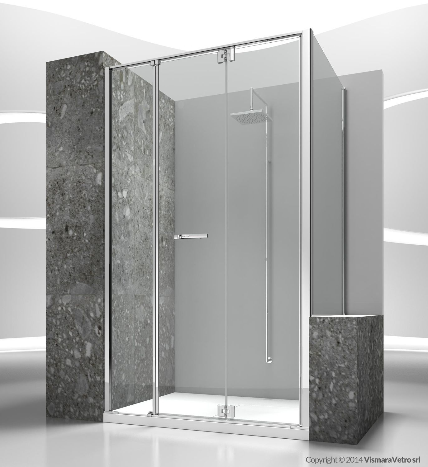 Glass shower cubicle / corner / with folding door - REPLAY: RM+RV ...