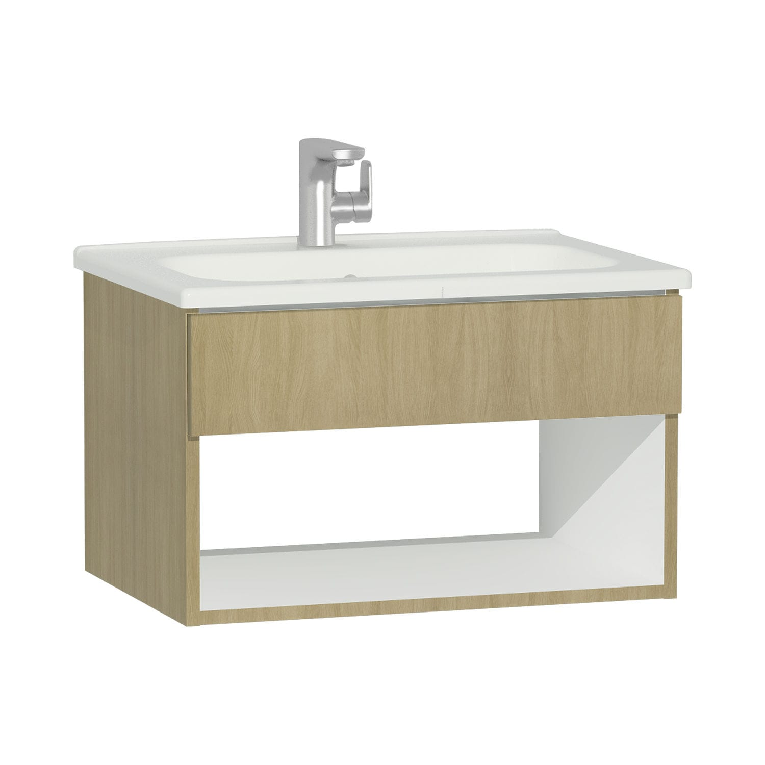 Wall-hung washbasin cabinet / oak / contemporary / with shelves - D ...