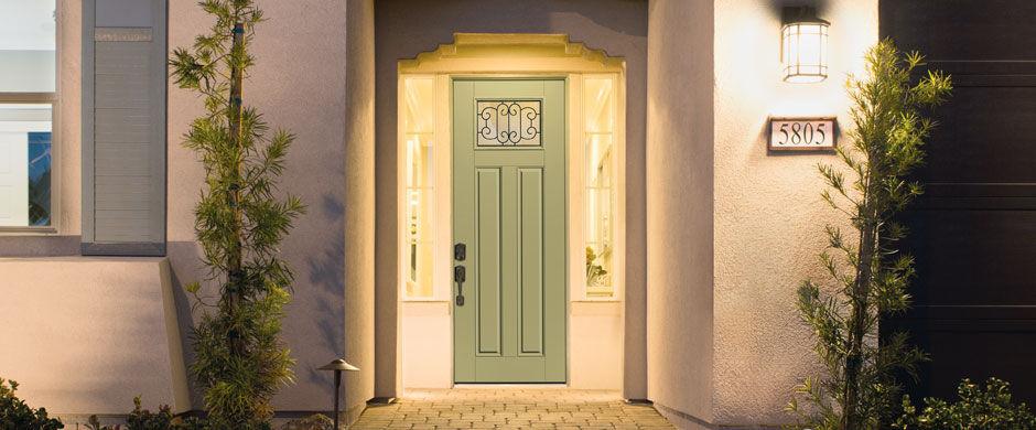 entry door swing fiberglass glazed smooth star therma tru